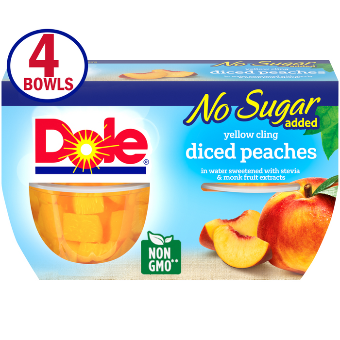 Dole Fruit Bowls No Sugar Added Yellow Cling Diced Peaches in Water Sweetened with Stevia & Monk Fruit Extracts, 4 Oz Bowls, 4 Cups of Fruit