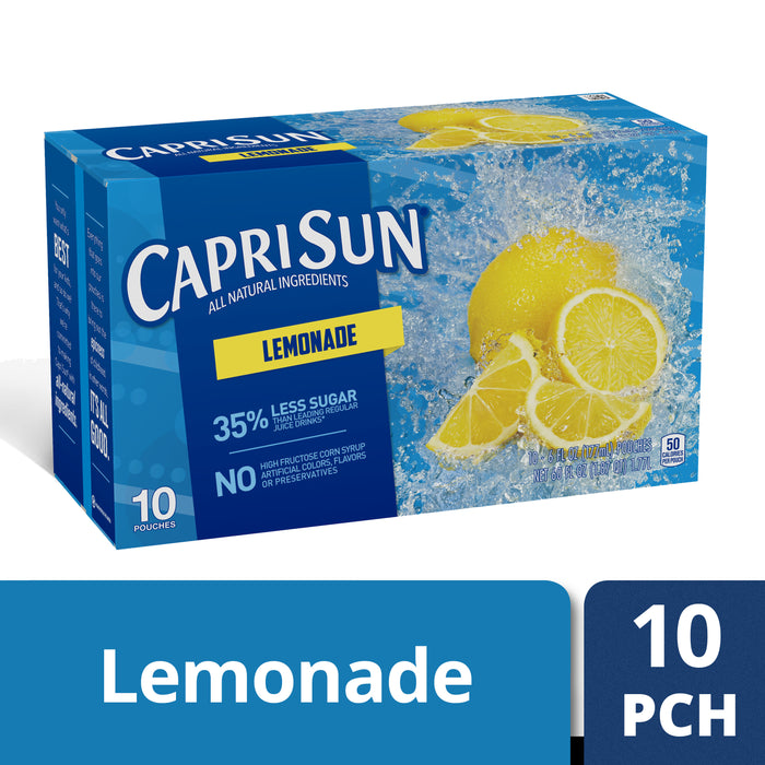 Capri Sun Lemonade Flavored Juice Drink Blend, 10 ct - Pouches, 60.0 fl oz Box