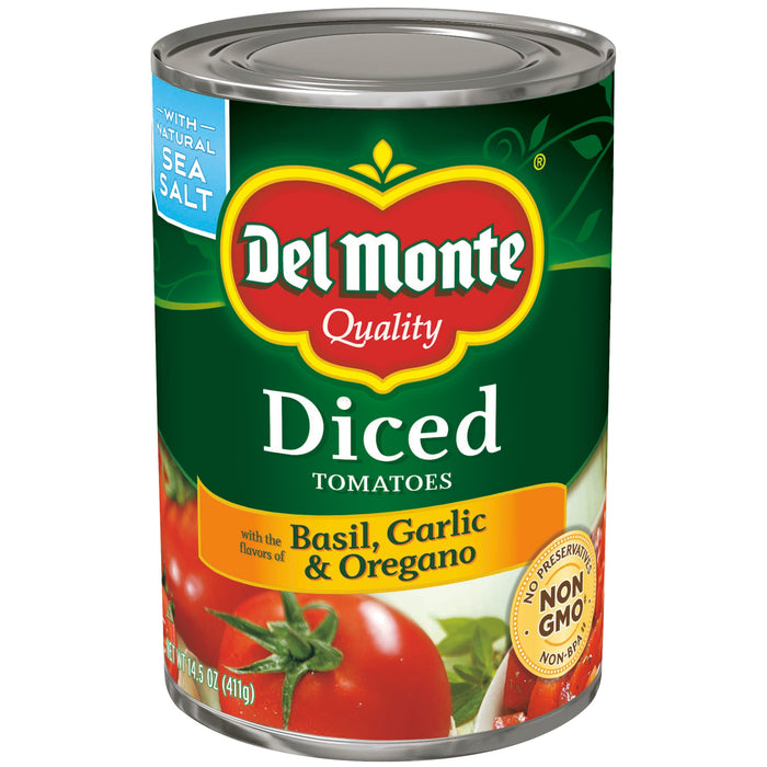 Del Monte Diced Tomatoes With The Flavors Of Basil, Garlic & Oregano, 14.5 oz canned tomatoes