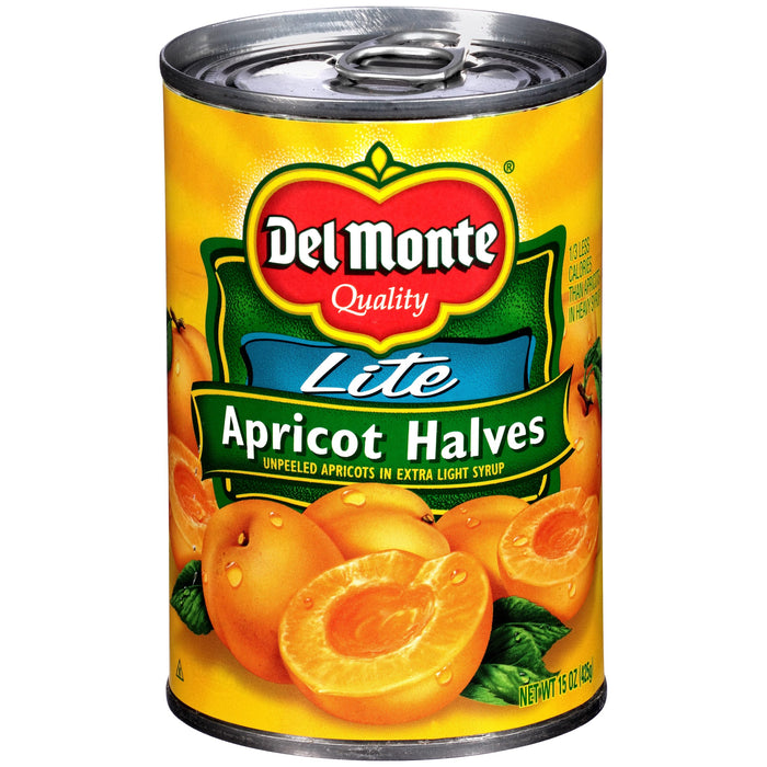 Del Monte Lite Unpeeled Apricot Halves In Extra Light Syrup, 15 Oz