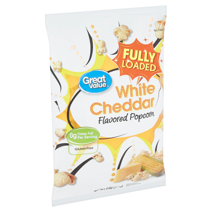 Great Value White Cheddar Flavored Popcorn, 9 oz