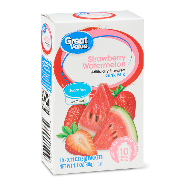 Great Value Strawberry Watermelon Drink Mix, 0.11 oz, 10 count