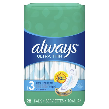 Always Ultra Thin Extra Long Super Pads with Wings, Unscented, Size 3, 28 Ct