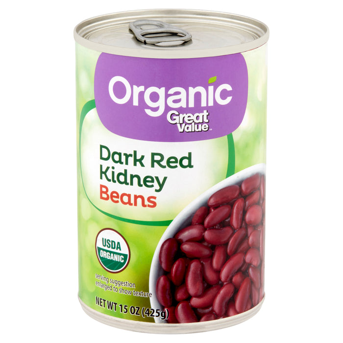 Great Value Organic Dark Red Kidney Beans, 15 oz