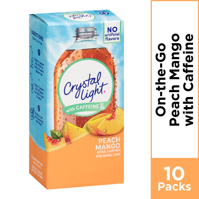 Crystal Light On-The-Go Peach Mango Powdered Energy Drink Mix, 10 ct - 0.7 oz Box