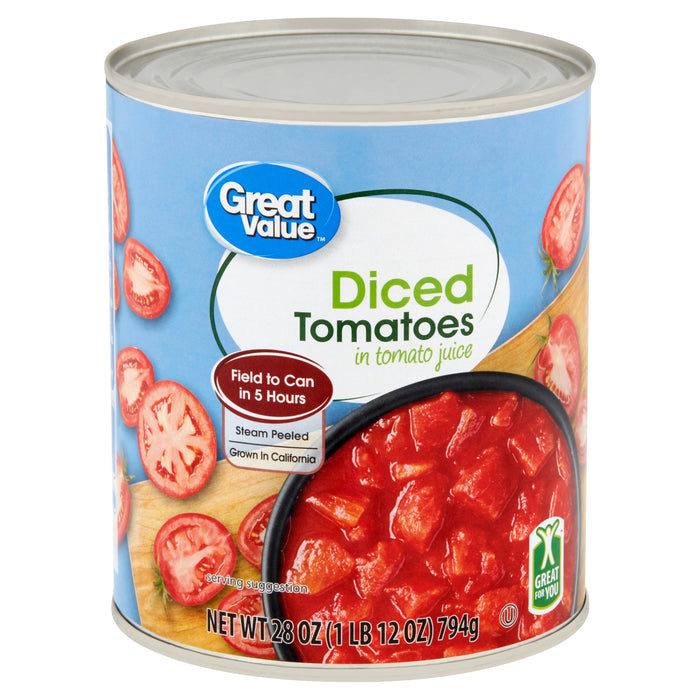Great Value Diced Tomatoes in Tomato Juice, 28 oz