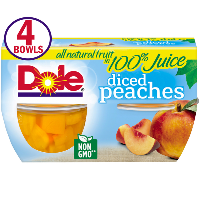 Dole Fruit Bowls Yellow Cling Diced Peaches in 100% Fruit Juice, 4 Oz Bowls, 4 Cups of Fruit