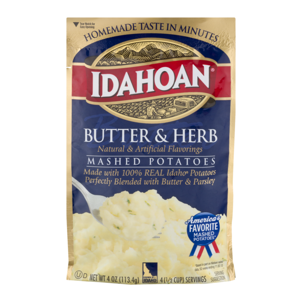 Idahoan Butter and Herb Mashed Potatoes - Gluten-Free, Real Idaho Potatoes - 1 Pouch (4 Servings)