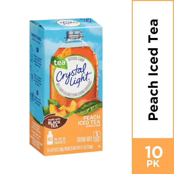 Crystal Light Peach Iced Tea Powdered Drink Mix, 10 ct - 0.7 oz Packets