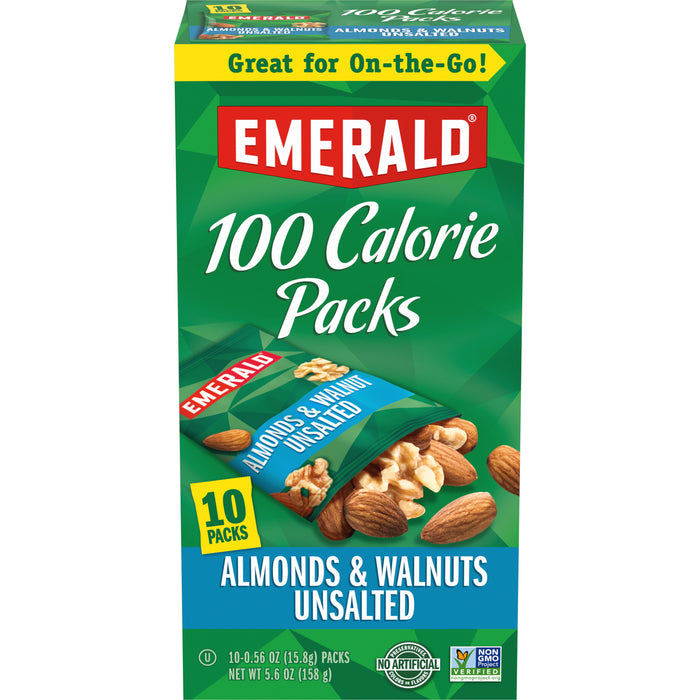 Emerald Nuts Natural Walnuts and Almonds, 100 Calorie Packs, 10 Ct