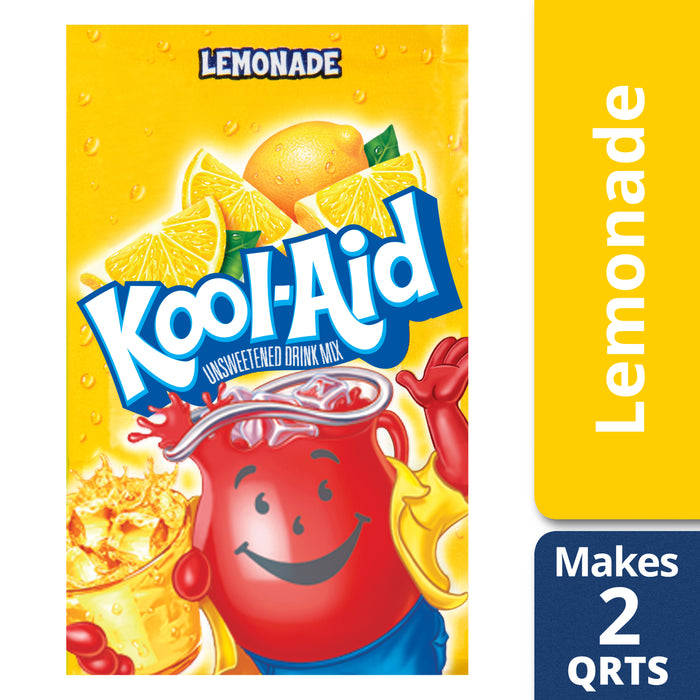 Kool-Aid Unsweetened Lemonade Powdered Drink Mix, Caffeine Free, 0.23 oz Packet