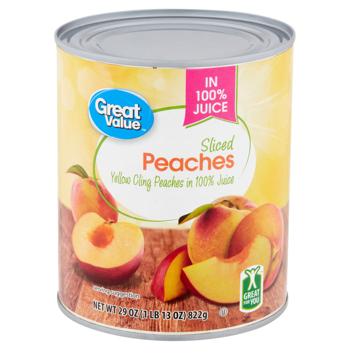 Great Value Sliced Peaches in 100% Juice, 29 oz