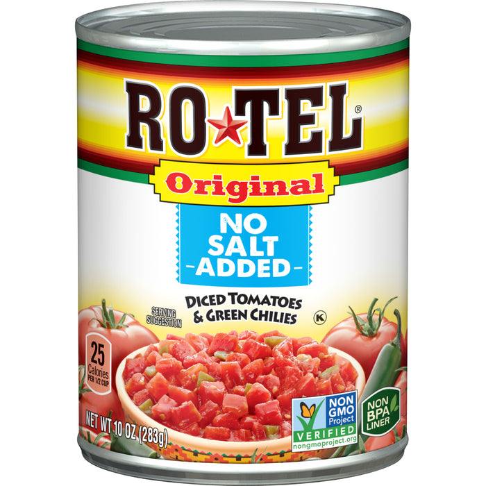 RO*TEL Original No Salt Added Diced Tomatoes and Green Chilies 10 Ounce