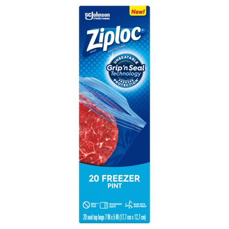 Ziploc Brand Freezer Pint Bags with Grip 'n Seal Technology, 20 Count