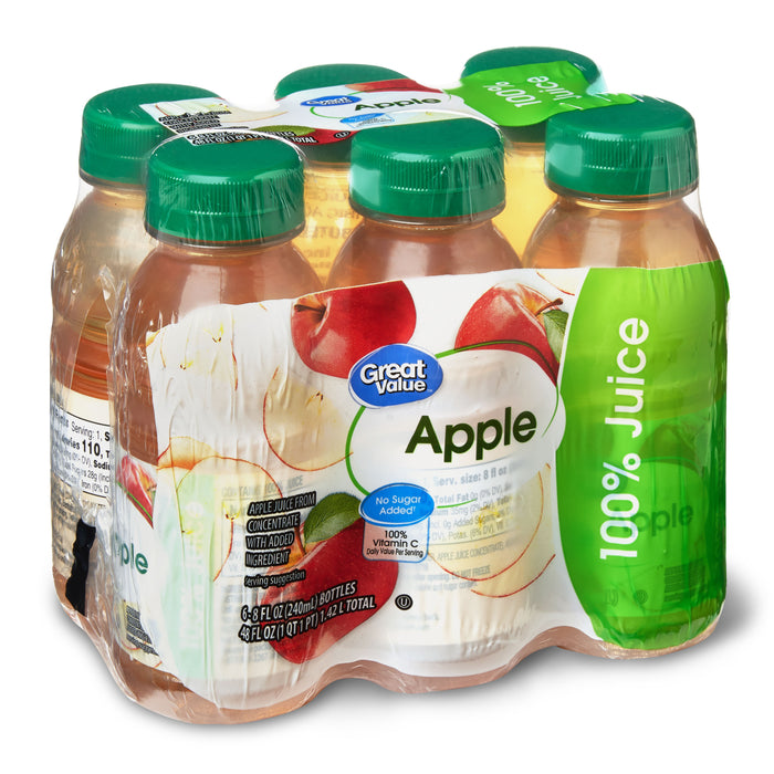 Great Value Apple Juice, 8 Fl. Oz., 6 Count