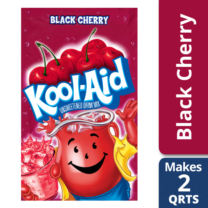 Kool-Aid Unsweetened Black Cherry Powdered Drink Mix, Caffeine Free, 0.13 oz Packet