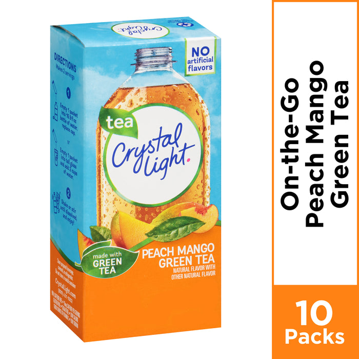 Crystal Light On-The-Go Peach Mango Green Tea Powdered Drink Mix, 10 ct - .08 oz Packets