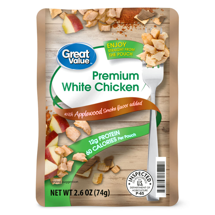 Great Value Premium White Chicken with Applewood Smoke Flavor, 2.6 oz
