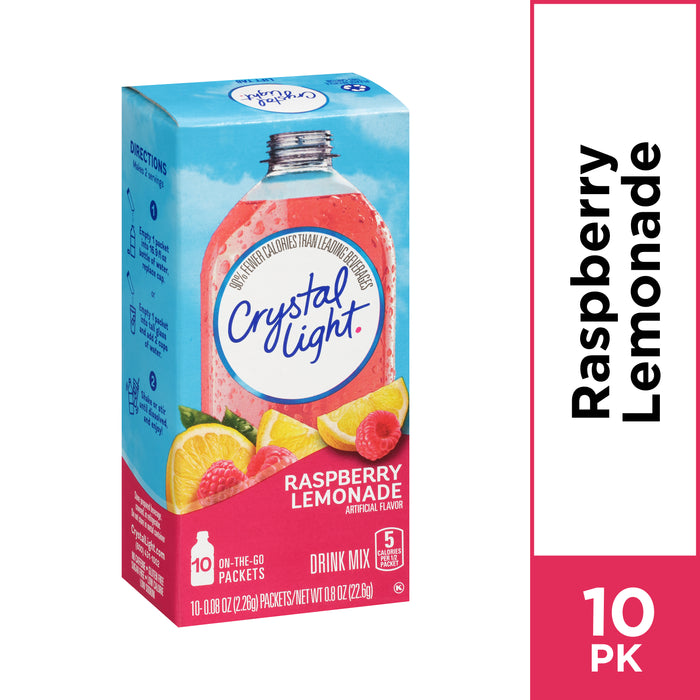 Crystal Light Raspberry Lemonade Powdered Drink Mix, 10 ct - 0.08 oz Packets
