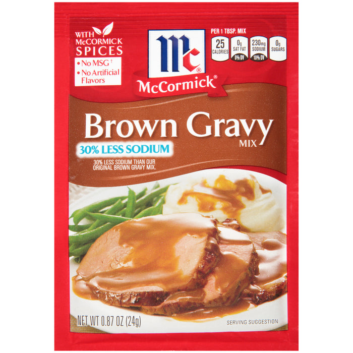 McCormick 30% Less Sodium Brown Gravy Mix, 0.87 oz Packet