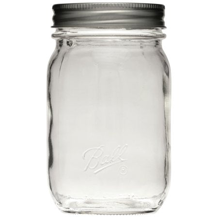 Ball Smooth Glass Mason Jars with Lids & Bands, Regular Mouth, 16 oz, 12 Count