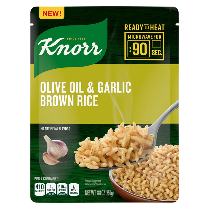Knorr Ready to Heat Meal Maker for a quick and easy side Olive Oil and Garlic Brown Rice ready in just 90 seconds 8.8 oz