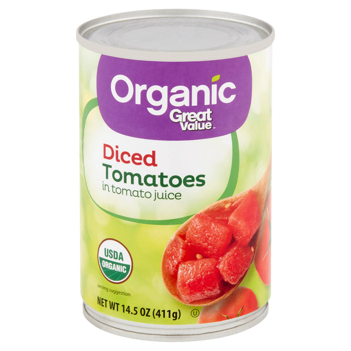 Great Value Organic Diced Tomatoes in Tomato Juice, 14.5 oz