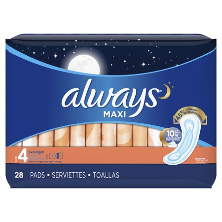 Always Maxi Overnight Pads Wingless, Unscented, Size 4, 28 Ct