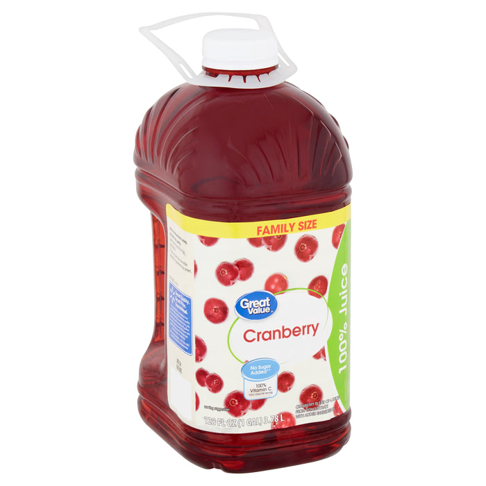Great Value Cranberry 100% Juice Family Size, 128 fl oz