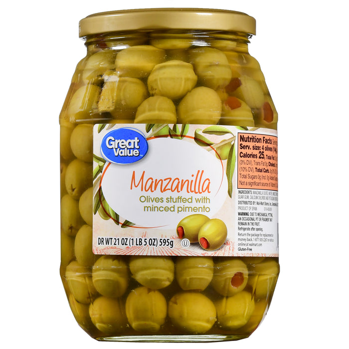 Great Value Manzanilla Olives Stuffed With Minced Pimiento, 21 Oz