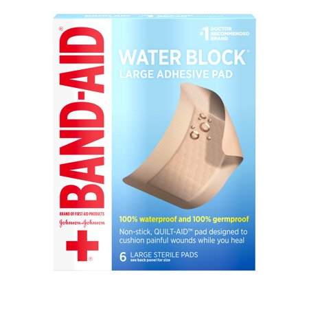 Band Aid Brand First Aid Water Block Waterproof Pads, 2.9 in by 4 in, 6 ct