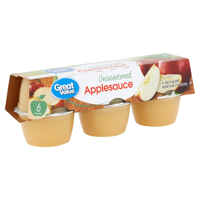 Great Value Unsweetened Applesauce, 4 oz, 6 count