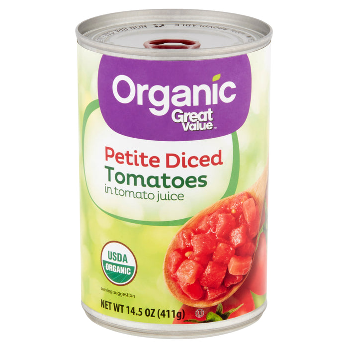 Great Value Organic Petite Diced Tomatoes in Tomato Juice, 14.5 oz