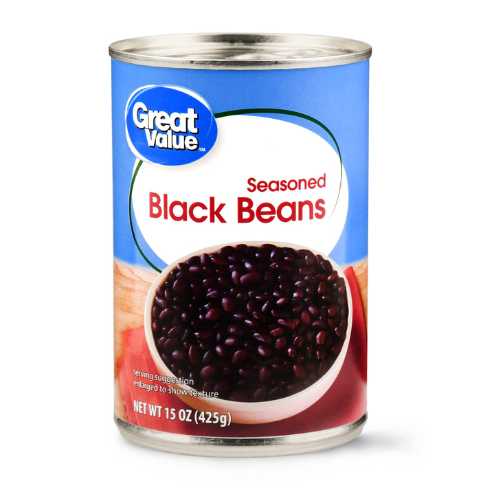 Great Value Seasoned Black Beans, 15 oz