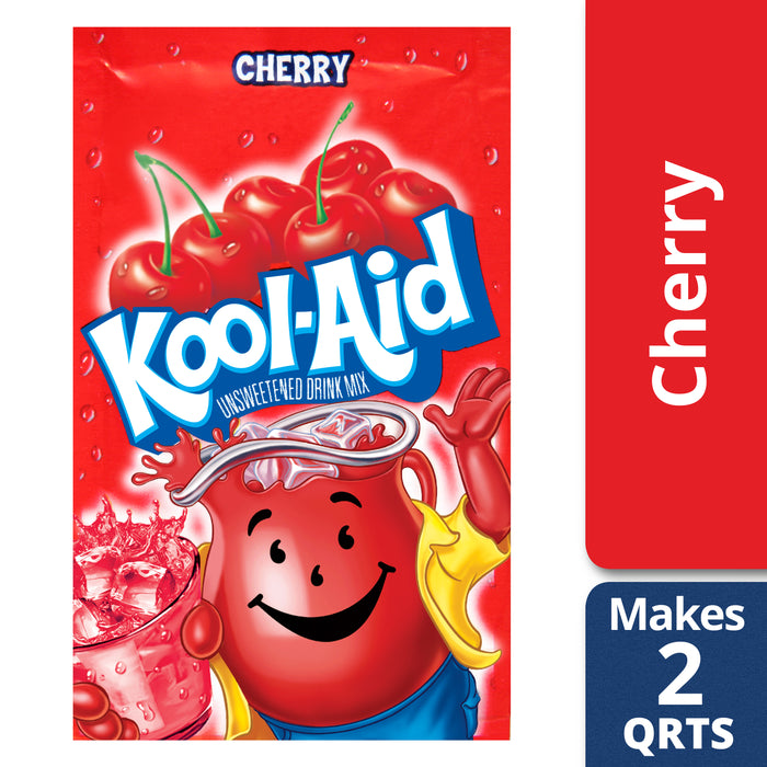 Kool-Aid Unsweetened Cherry Powdered Drink Mix, Caffeine Free, 0.13 oz Packet