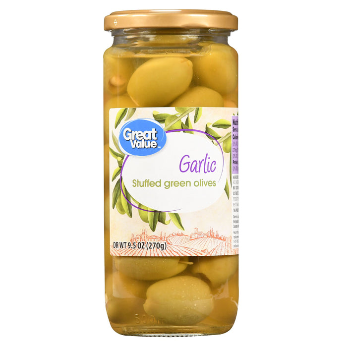 Great Value Garlic Stuffed Green Olives, 9.5 oz