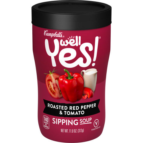 Campbell's Well Yes! Sipping Soup, Vegetable Soup On The Go, Roasted Red Pepper & Tomato, 11.1 Oz Cup