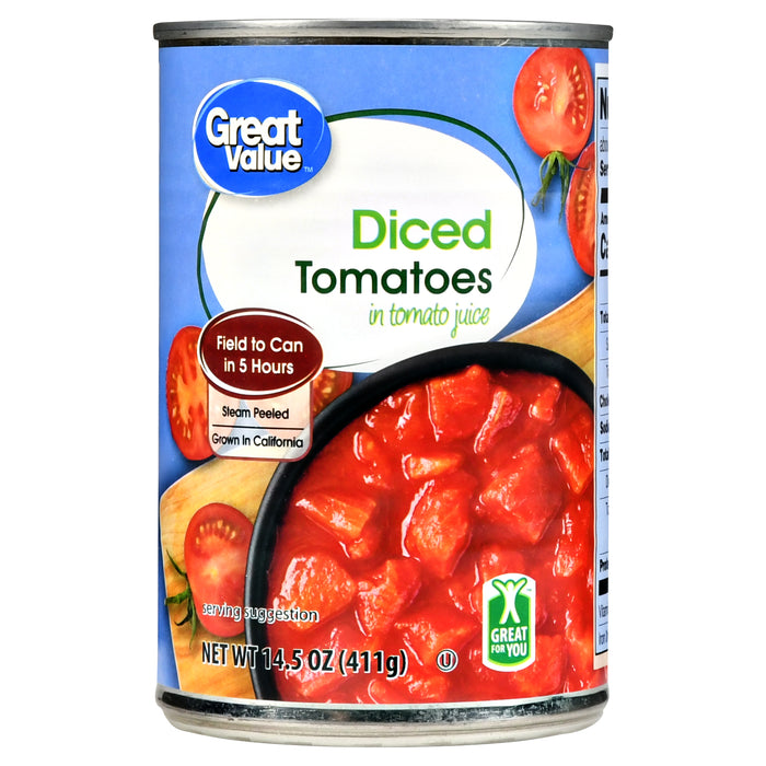 Great Value Diced Tomatoes In Tomato Juice, 14.5 Oz