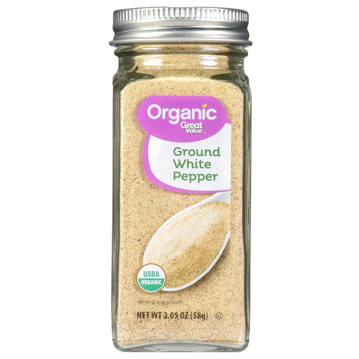 Great Value Organic Ground White Pepper, 2.05 oz