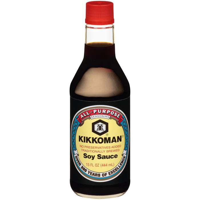 Kikkoman Traditionally Brewed Soy Sauce, 15 oz