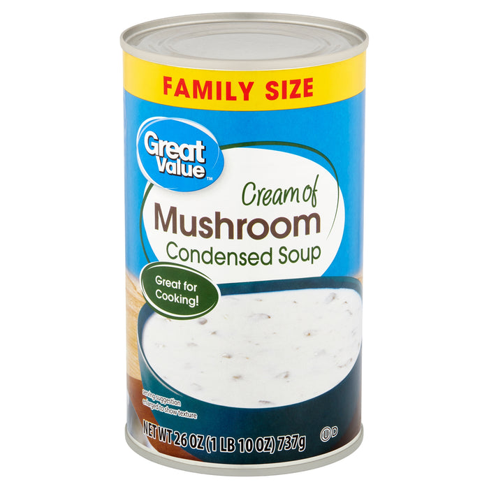 Great Value Cream of Mushroom Condensed Soup Family Size, 26 oz