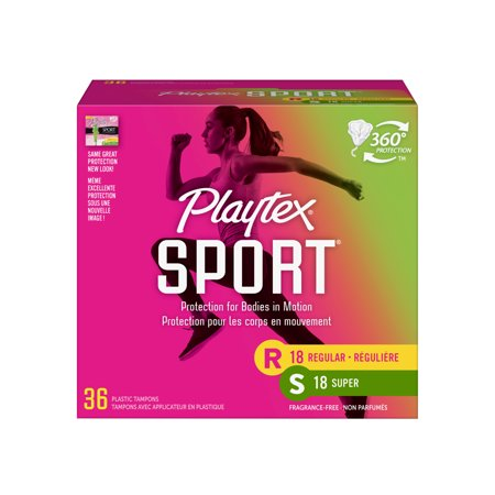 Playtex Sport Plastic Tampons, Unscented, Regular/Super, 36 Ct