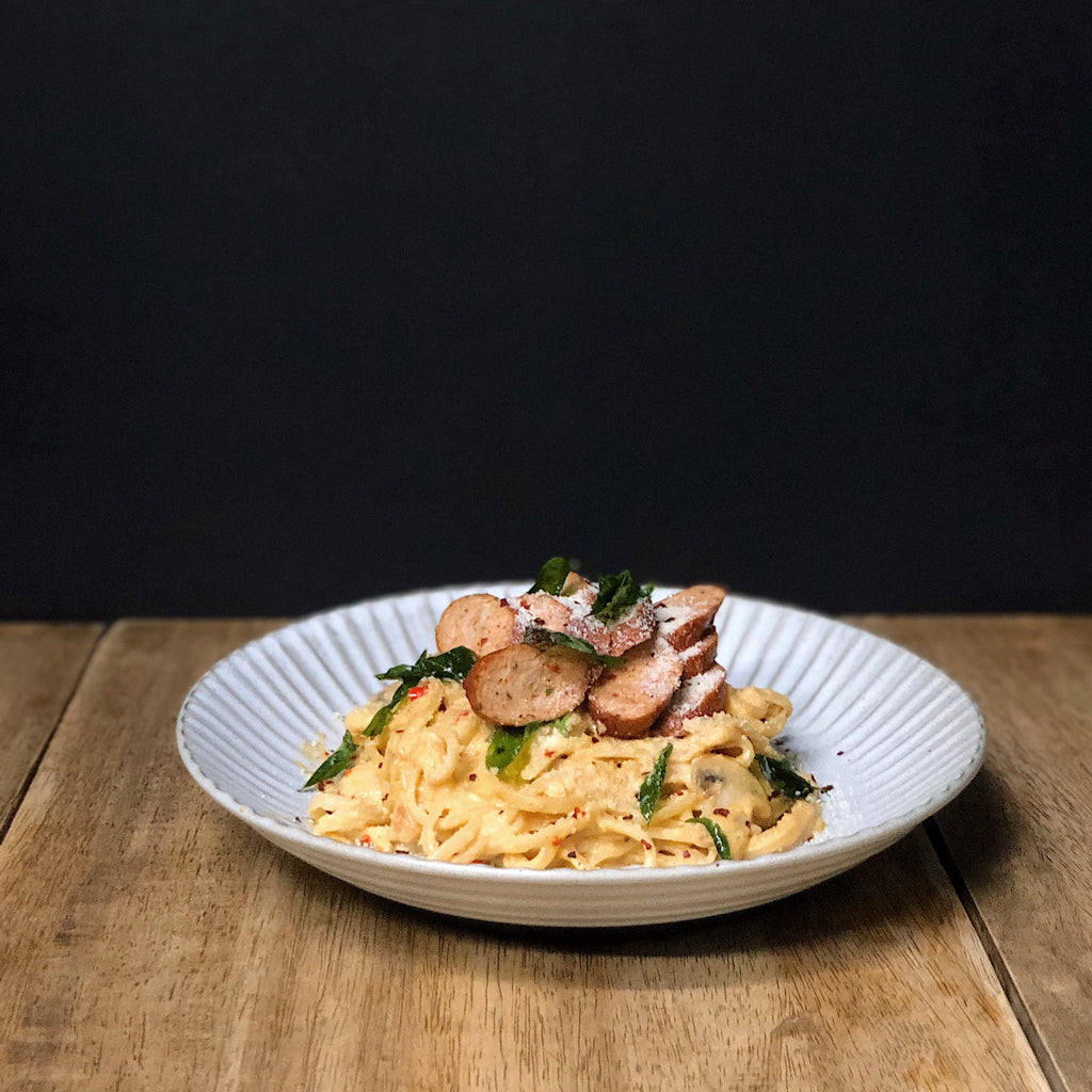 Spicy Salted Egg Linguine with Dynamite Sausage