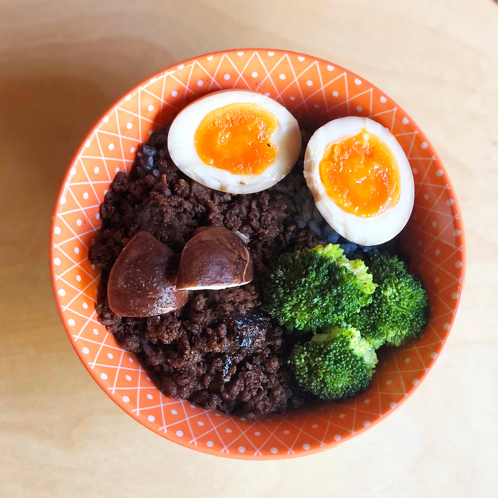 Braised Minced Beef Rice (Shiitake and Hanjuku Egg)