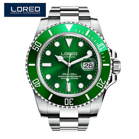 Relojes Hombre LOREO Watch Men Sport Automatic Mechanical Clock Mens Watches Top Brand Luxury Waterproof 200m Watch Dropshipping