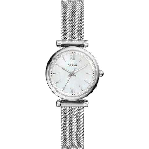 FOSSIL Women Quartz Watches Carlie Mini Three-Hand Stainless Steel Watch Silver Wrist Watches for Women Stylish ES4432P