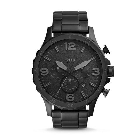 Fossil Men Watch Nate Chronograph Black Stainless Steel Watch Black Dial Quartz Metal Casual Watch JR1401