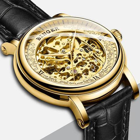 Switzerland BINGER Male MIYOTA Mechanical Watches Hollow Sapphire Black Genuine Leather Gold Wristwatch Men Skeleton Watch Clock