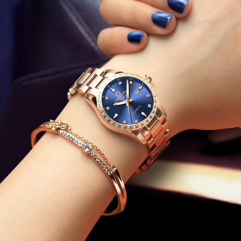 Fashion Automatic Watch Women Top Brand CARNIVAL Women Watches Rose Gold Waterproof Calendar Sapphire Luminous Steel dress Watch