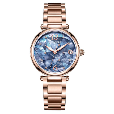 Reef Tiger/RT Fashion Diamond Rose Gold Luxury Dress Watch Stainless Steel Bracelet Automatic Waterproof Watch RGA1584